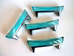 Vintage Glass Drawer Pulls/Nautical Blue/ Retro by VintageHomeShop, $19.00