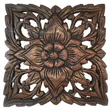 Wood Carved Wall Decor Wood Plaque Oriental Carved Lotus Rustic Wall Decor Hand Carved