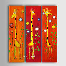 3pcs lot hand pianted cute giraffe animal on canvas oil painting for children room wall picture art home decor cartoon picture in painting calligraphy