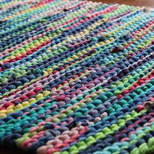 rainbow rag rug t shirt rug retro cottage chic lime green cerule