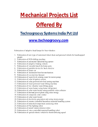 mechanical equipments list list of mechanical projects mechanical final year projects list 2014
