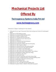 mechanical equipments list list of mechanical projects mechanical final year projects list 2014