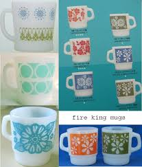 Fire King Patterns Interesting Print Pattern FIRE KING MUGS Vintage Dishes I Loooove