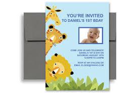 1st Birthday Party Invitation Template Animal Zoo Party 1st Birthday Invitation Samples 5x7 In