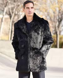 carter black rabbit fur coat with lapel front for men