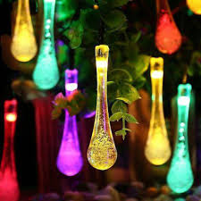 20 multi colour teardrop icicle hanging lights led solar powered string lights