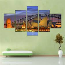 abstract framed city canvas painting harbour bridge picture wall