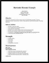 Cover Letter Objective For Bartending Resume Objective Examples