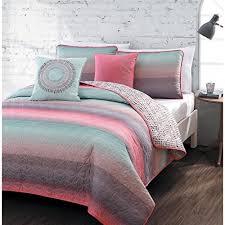 5-piece Queen Quilt Set for Girls Beautiful Coral Pink, Teal Blue ... & 5-piece Queen Quilt Set for Girls Beautiful Coral Pink, Teal Blue, Violet Adamdwight.com