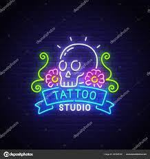 Tattoo Studio Neon Text Světlé Vývěsní štít Světelný Nápis Lebka