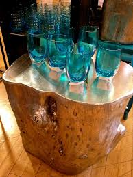 tree stump furniture ideas. painted tree stump side table furniture ideas