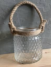large hurricane lantern candle holder rope handle textures glass wedding rustic