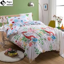 bedding set 3pcs cotton duvet cover pillowcase bedsheet giraffe pattern cartoon kids twin size bed sheet