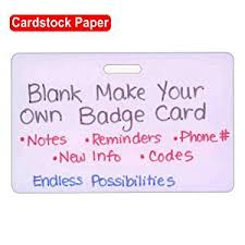 Make Your Own Identification Card Blank Cardstock Horizontal Make Your Own Badge Id Card Pocket Reference Guide