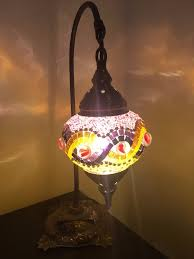 beautiful romantic moroccan turkish middle eastern style glass marble table lamp or desk light