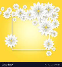 Paper Flower Frame Floral Background White Paper Flowers Frame Vector Image