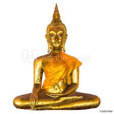 Fotobehang Seated Golden Buddha Nikkel Art