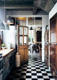 Black And White Checkerboard Floor + Wooden Doors