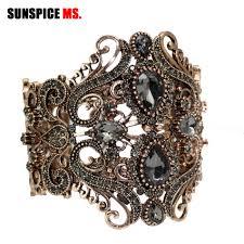 SUNSPICE MS <b>Retro Vintage Indian</b> Wide Flower Bangle Cuff ...