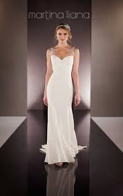 sheath wedding dress illusion back martina liana wedding dresses