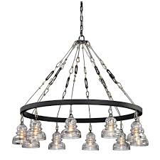 troy lighting menlo 10 light deep bronze park chandelier with historic clear pressed glass shade