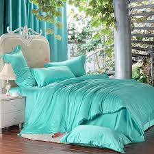 luxury turquoise blue green bedding set silk king size queen quilt duvet cover sheets bedspread bed