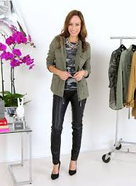 sydne style how to wear the army chic trend military style fall 2016 fashion week express jacket camo shirt leather leggings