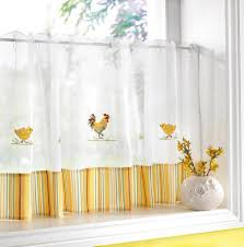 Kitchen Window Curtain Panels Chickens Amp Roosters Voile Cafe Net Curtain Panel Kitchen Curtains