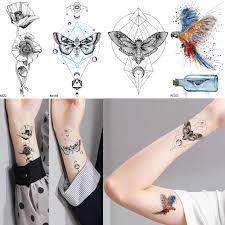 поддельные черные чистые руки татуировки женские наручные геометрические