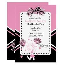 Cheerleader Birthday Party In Pink Black White Invitation
