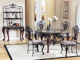 ... Dining Tables, Amusing Brown Round Contemporary Wooden Glass Top Dining  Table Set Stained Ideas: ...