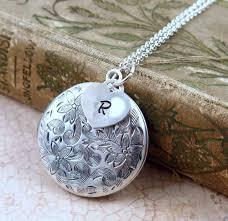 silver locket necklace initial locket flower locket initial necklace heart locket valentine gift personalized jewelry
