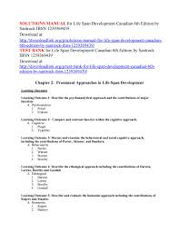 Solutions Manual For Life Span Development Canadian 6th