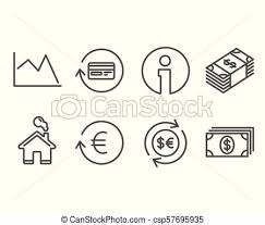 Money Currency Exchange Currency And Refund Commission Icons Line Chart Banking Signs