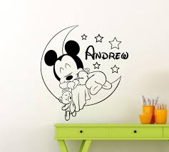 mickey lune toiles motif sticker personnalis nom vinyle stickers