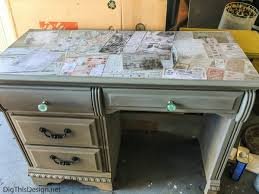 a refurbished desk using the technique of decoupage medium mod podge