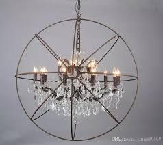 foucault s orb clear k9 crystal chandelier rustic iron globe suspension handing lamp new loft industrial for living room b039 dining chandelier chandelier