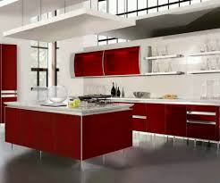 Red Kitchen Furniture Kitchen Gray Tile Floor Red And White Cabinets Sink Faucet Red