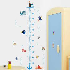 Bathroom Chart For Kids Cartoon Shark Fish Boat Height Measure Wall Sticker For Kids