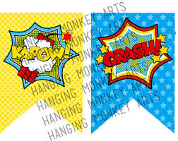 printable bunting, comic book decor, Superhero bunting, superhero birthday  banner, superhero Birthday