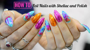 Bright and Colourful Foil Nail Art with Shellac and Polish ...