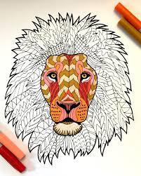 Lion Pdf Zentangle Coloring Page