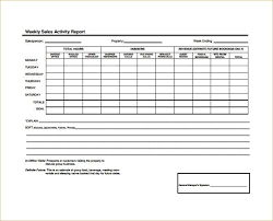 sales activity report excel weekly sales report template templates