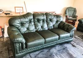 green leather sofa repair complete