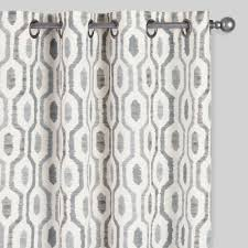 Gray Geo Print Jackson Grommet Top Curtains Set of 2