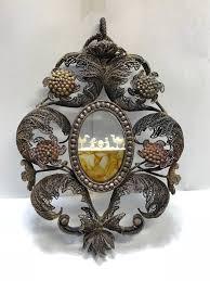 nativity scene in silver filigree frame