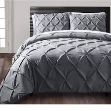details about grey pintuck duvet cover sets pillowcases double super king single bedding quilt