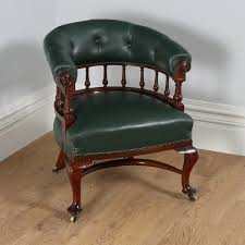 green leather office chair. Antique Victorian Mahogany Green Leather Office Desk Chair (Circa 1890)