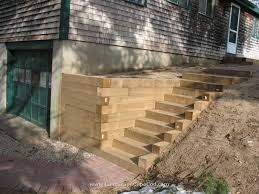 timber retaining wall stairs
