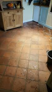Kitchen Floor Cleaning Cleaning An Old Terracotta Tiled Kitchen Floor In Runcorn West